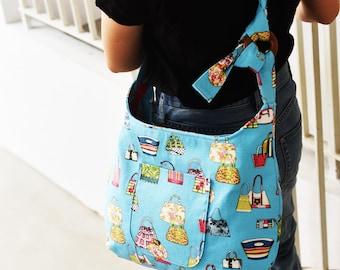 Zippered Shoulder Bag  | Crossbody Bag- One Ring Wonder Bag Pattern | PDF Sewing Pattern | Bag Sewing Pattern |