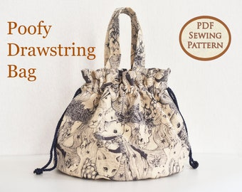 Easy Beginner Drawstring Bag Pattern | Drawstring Pouch | PDF Sewing Pattern | Bag Sewing Pattern | Poofy Drawstring Bag