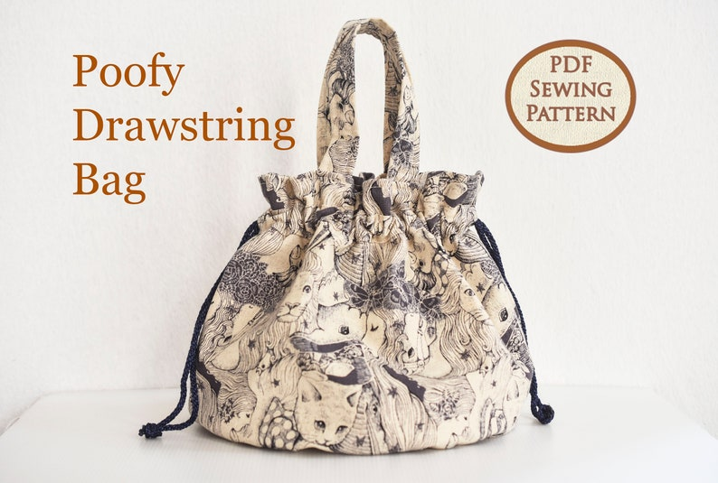 Easy Beginner Drawstring Bag Pattern  Drawstring Pouch  PDF image 0