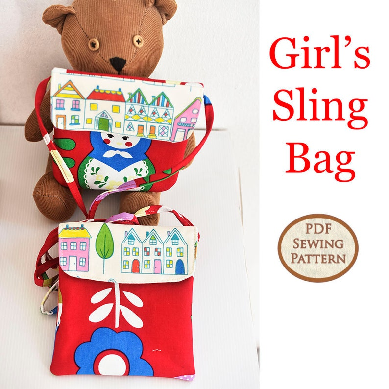 Easy Beginner Girl's Sling Bag Pattern  PDF Sewing image 0