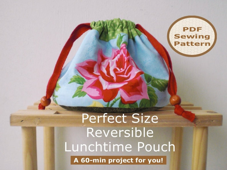 Easy Beginner Drawstring Pouch  Bag Sewing Pattern And image 0