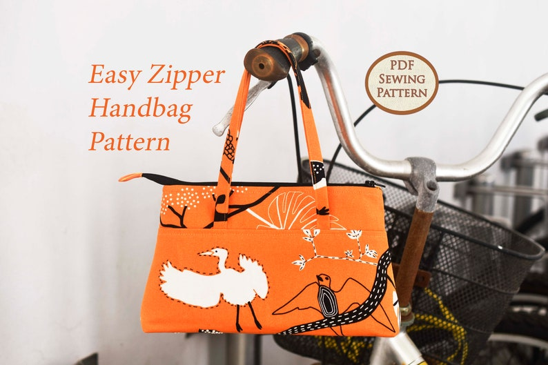 Easy Zipper Handbag Pattern  PDF Sewing Pattern  Bag Sewing image 0