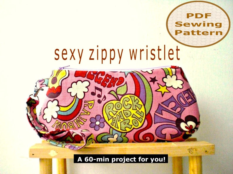 Sexy Zippy Wristlet INSTANT DOWNLOAD  PDF Sewing Pattern And image 0