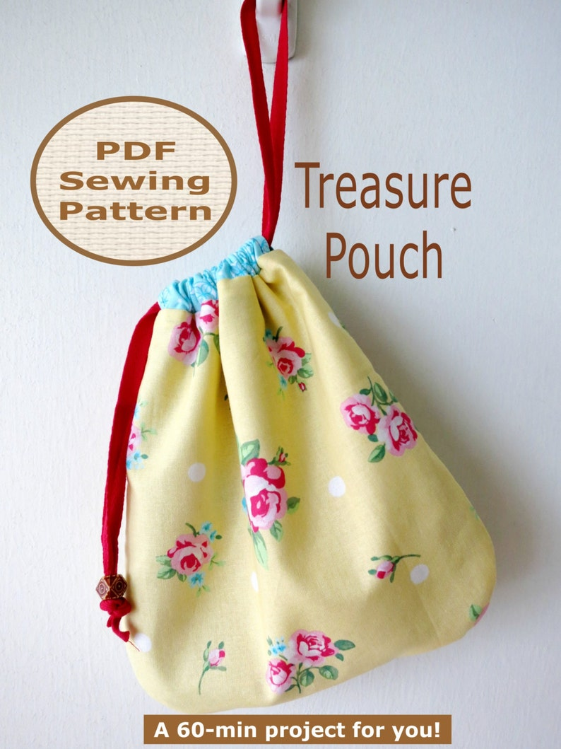 Easy Beginner Treasure Pouch PDF Bag Sewing Pattern  image 0