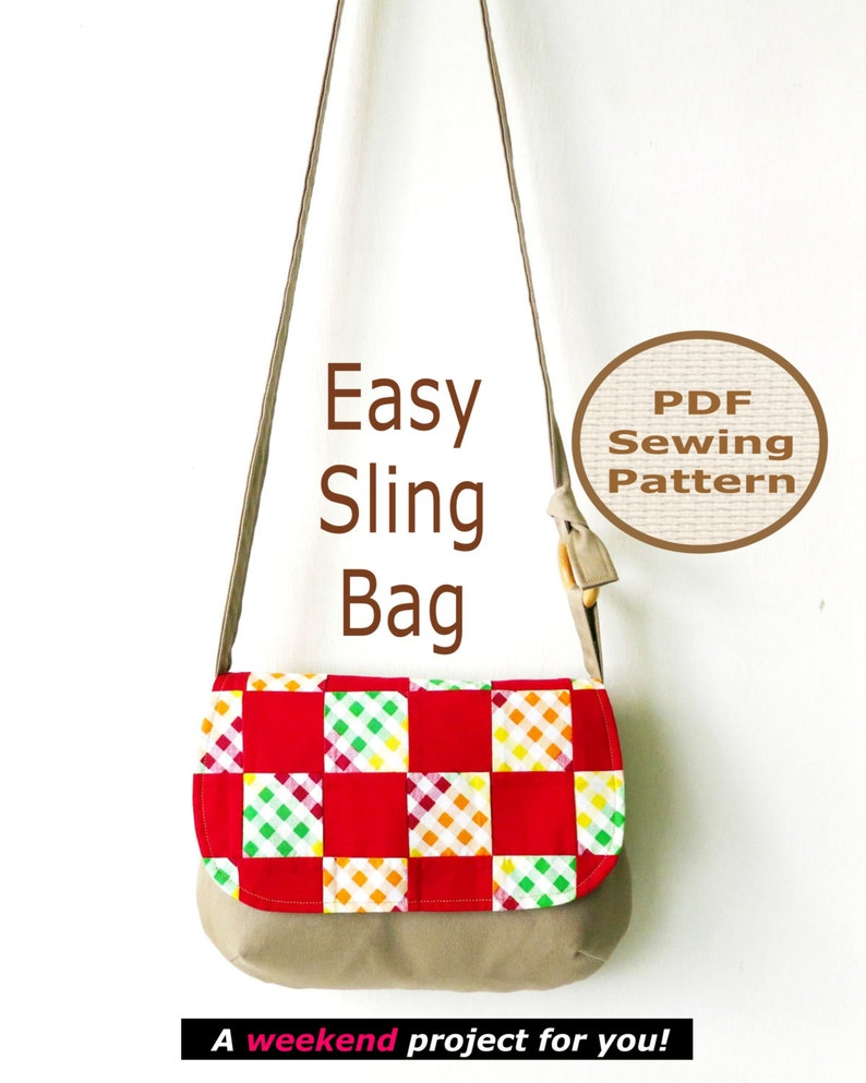 EASY SLING Bag With Flap Instant Download   PDF Sewing image 0