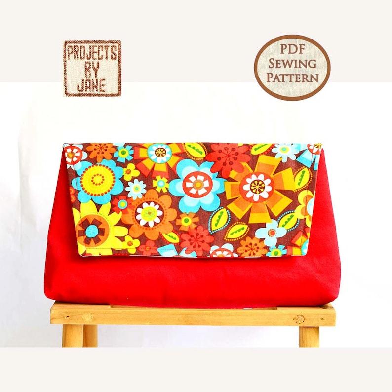 Beginner Basic Clutch pdf bag sewing pattern Easy Bag Pattern image 0