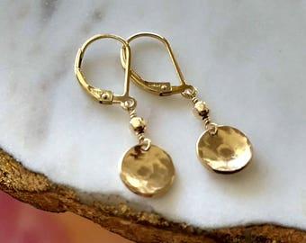 Gold Leverback Earrings, Dainty Dangle Earrings, Hammered Earrings, Gold Dangle Earring Gold Drop Earrings Gold Fill Birthday Gift for Her