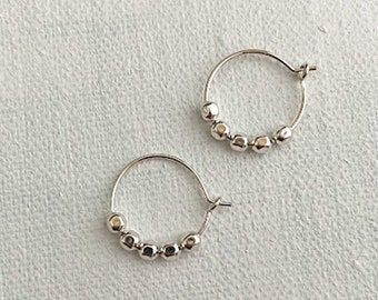 Sterling Silver Beaded Hoop Earrings, Silver Bead Hoops, Tiny Beads, Wire Hoop, Everyday Jewelry for Women, Christmas Gifts for Her