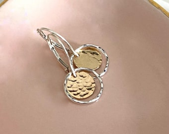 Dainty Silver and Gold Earrings Mixed Metal Handmade Jewelry Two Tone Dangle on Leverback Christmas Gift for Mom Hammered Coin Drop Earrings