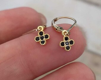 dainty black and gold dangle earrings tiny drop 14k gold fill leverback earwires jewelry gift for her women