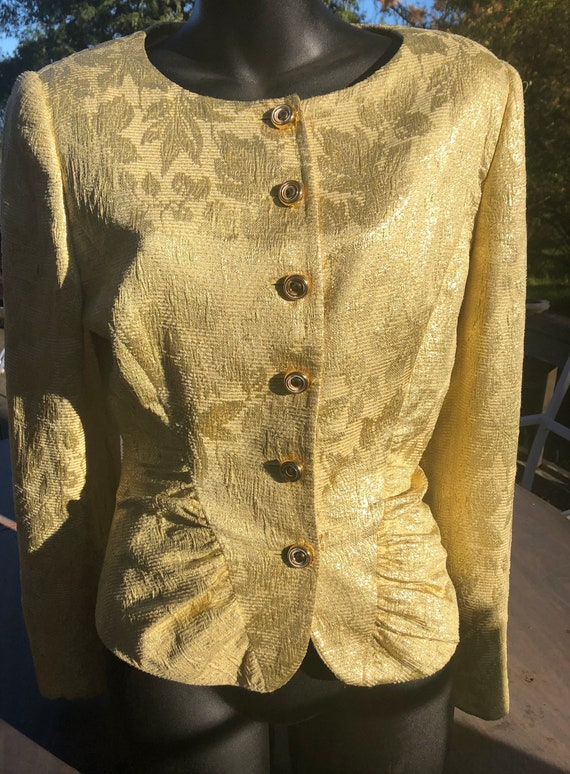 VALENTINO  NIGHT, evening jacket, gold lame size 8