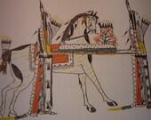 Ledger Drawing funeral Zo Tom Kiowa tribe Plains Indians Sketch Books Print 1877 Native American Fallen soldier