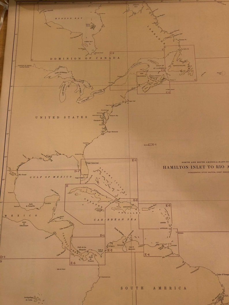 Nautical Map Americas Atlantic Coast 1947 US Dept of Navy From Brazil to Greenland Large Framable 28 by 20 inches map coastline Cartography