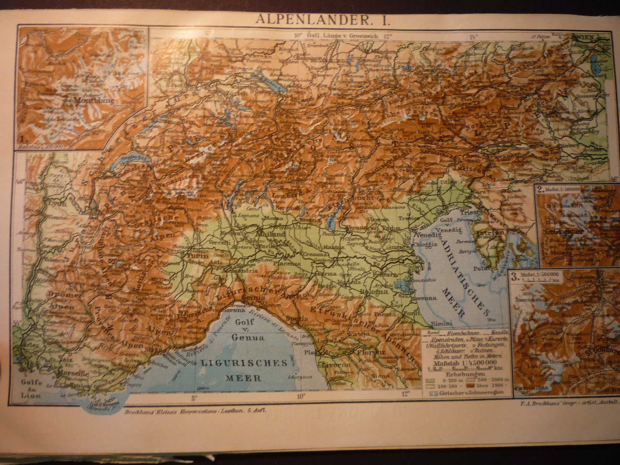 Alps 1910 Map Antique Color Lithograph German Book Plate Etsy