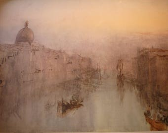 Grand Canal Venice, After Sunset by J M W Turner, English water color GICLEE print for art lovers Italian scene framable