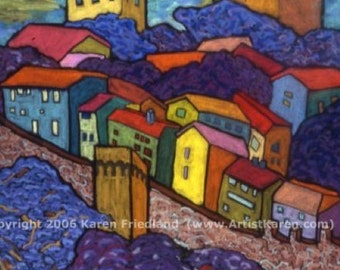 Large GICLEE ART PRINT on Canvas or Paper Cityscape Landscape Italy Colorful Wall Art Home Interior Decor Accessory Original Painting Repro