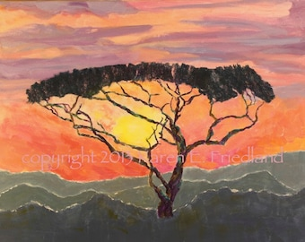 African Landscape GICLEE ART PRINT on Canvas or Paper Colorful Tree Collage Original Painting Sunset Home Decor Accessory Large Reproduction