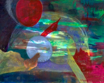 Large Abstract GICLEE ART PRINT on Canvas or Paper Outer Space Red Green Light Blue Wall Art Home Decor Accessory Original Painting Repro