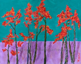 Large GICLEE ART PRINT on Canvas or Paper Autumn Aflame Landscape Red Purple Colorful Wall Art Home Decor Accessory Original Painting Repro