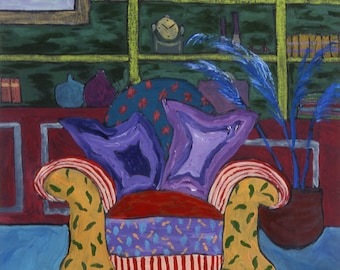 GICLEE Art PRINT Original Painting on Canvas or Paper Chair Library Colorful Medium Pattern Interior Home Accessory Design Repro Wall Art