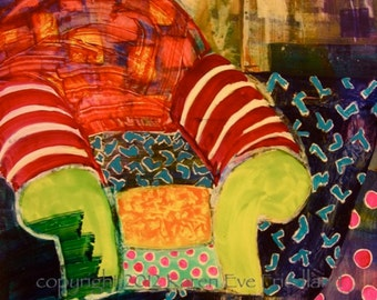 ABSTRACT GICLEE Art PRINT on Canvas or Paper Bright Colorful Large Chair Original Painting Interior Home Decor Accessory Repro Wall Art
