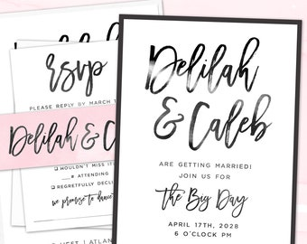 Wedding Invitation Suite, Printed Wedding Invite, Custom Colors, Modern Brush Script Wedding Invitation   PRINTED SAMPLE