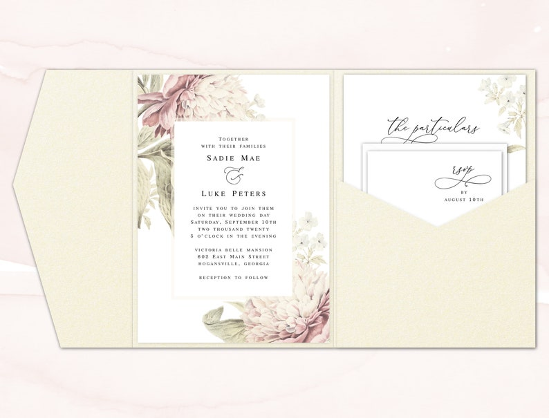 Pocket Fold Wedding Invitations Printed Pocket Wedding Etsy