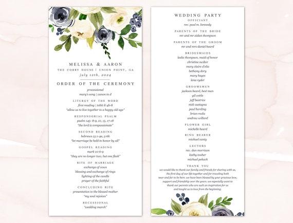 Wedding Program Order Of Service Printable