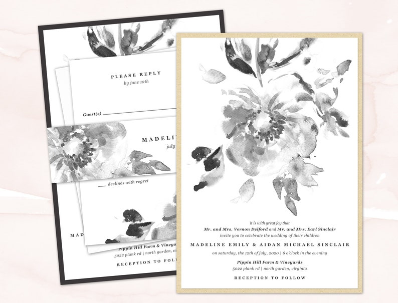 Floral Printed Wedding Invitations Black And White Watercolor Wedding Invite Set Printed Sample