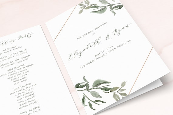 wedding program order of service printable program folded etsy