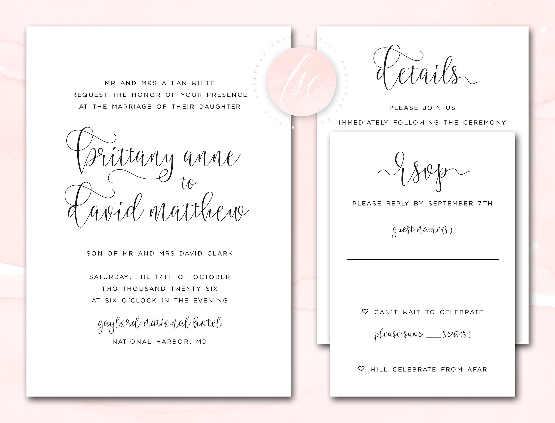 Printable Wedding Invitation Suite Wedding Invite Print It Etsy