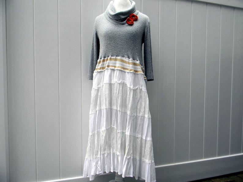 Upcycled Women Dress  Loose Women Top Wearable Art Bohemian Clothing Women Repurposed Dress Gray  White MEDIUM