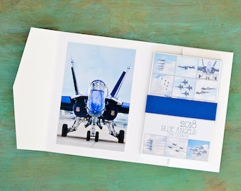 2018 Navy Blue Angels Military Plane Desk Calendar WIth Display Easel Stand Unique 2018 Calendars AIrplane Photo Print New Years Gift