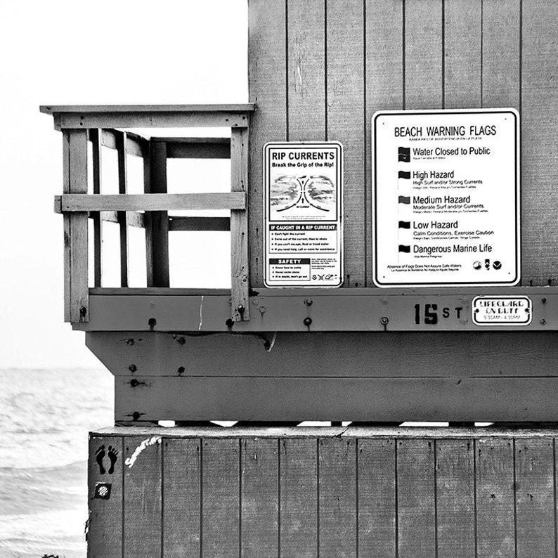 Miami South Beach Black and White Aqua Blue Beach Hut Beach House Decor  Lifeguard Stand Tower Ocean Art Photography Coastal Wall Art SoBe