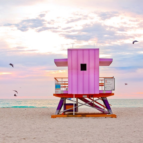 Pink Wall Decor Beach Hut Lifeguard Stand Art Deco Miami Beach Etsy