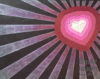 Digital Paper Starburst Heart for altered art and scrapbooking