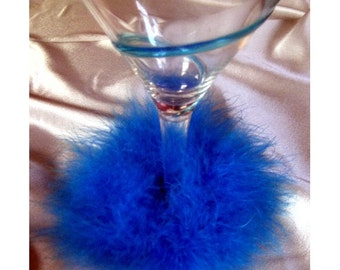 Blue Fuzzy Boa wine glass slipper