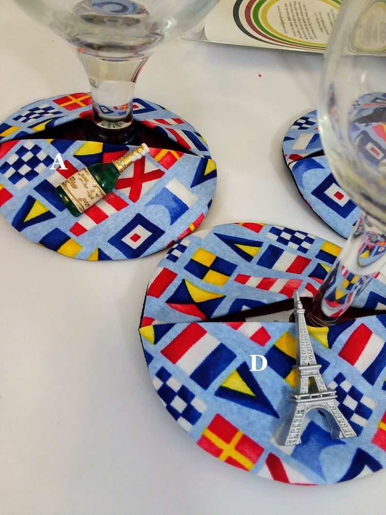 Viva La France themed wine charm stemware coasters.  Choose image 0