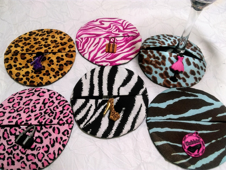 Animal print single wine coasters with fashionista-style image 0
