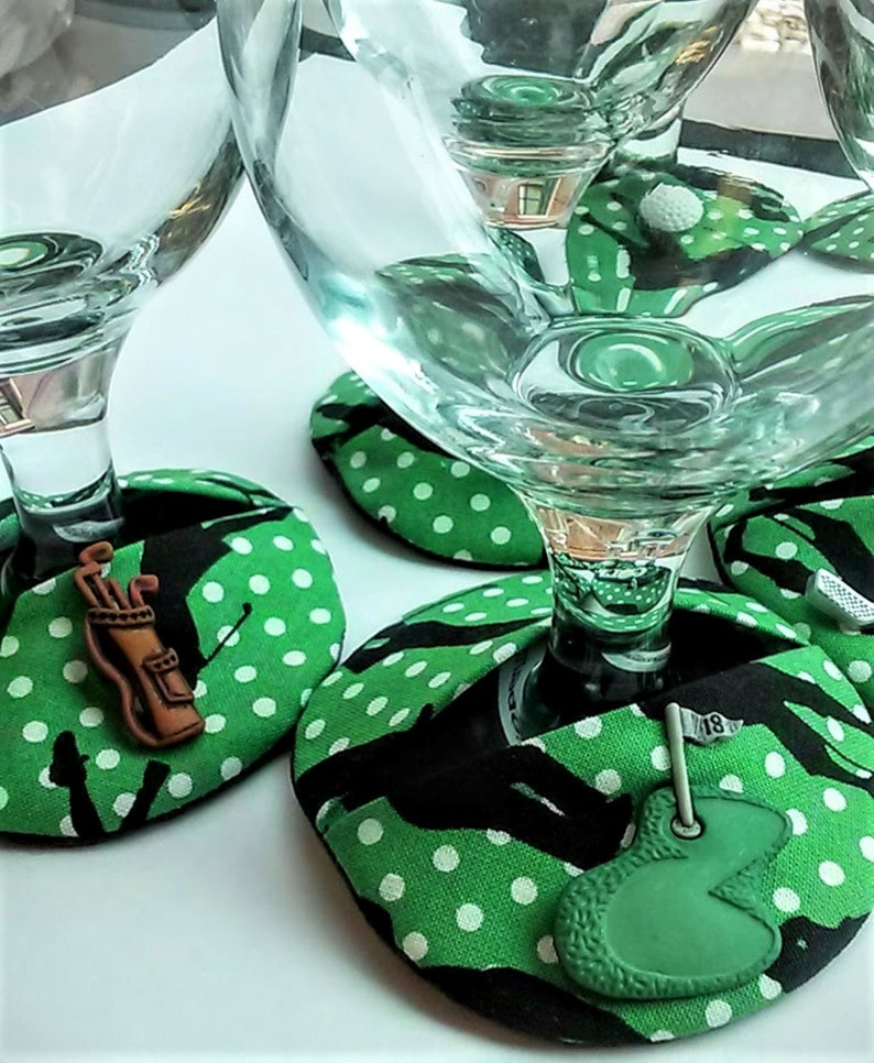 Golfers wine glass coasters.  Slip-on wearable fabric image 0