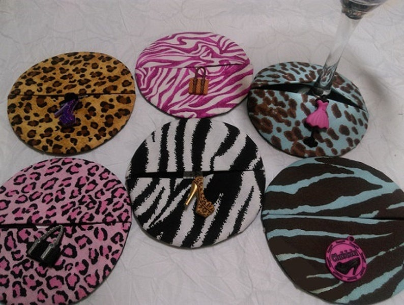 Animal print wine coasters with fashionista-style charms of image 0