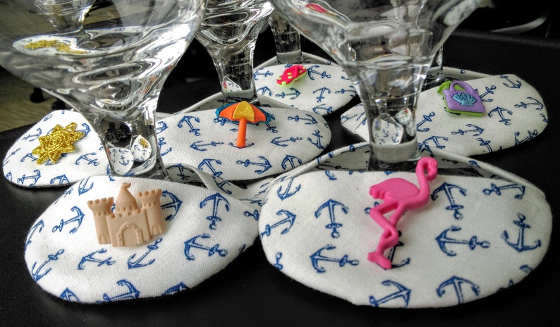 Nautical-anchors Away themed wine coasters with seaside  image 0