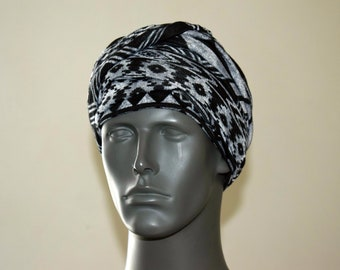 6e534f662e9 Black n Gray Tribal EZ PZ Turban Wrap For Short Hair Or Bald Head- One  Size-Ready Wraps- Stretch Turban- Stretch Wraps