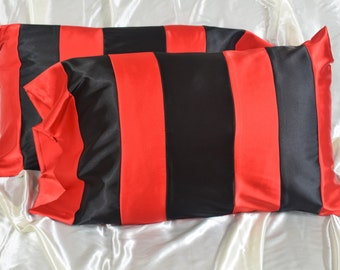 Red & Black Satin Pillow Case- Silky Sleep - Hair Protection - Standard Size - Queen Size - King Size - Made To order