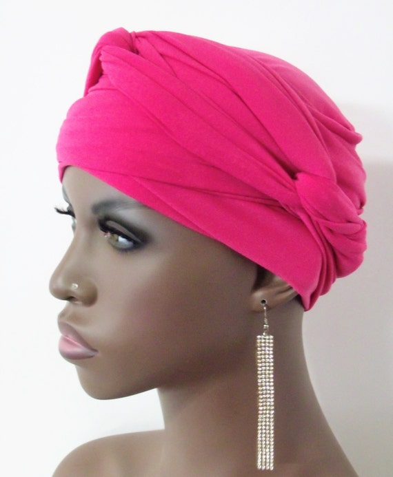 Women Pink Ez Pz Turban Wrap For Short Hair Or Bald Head Etsy