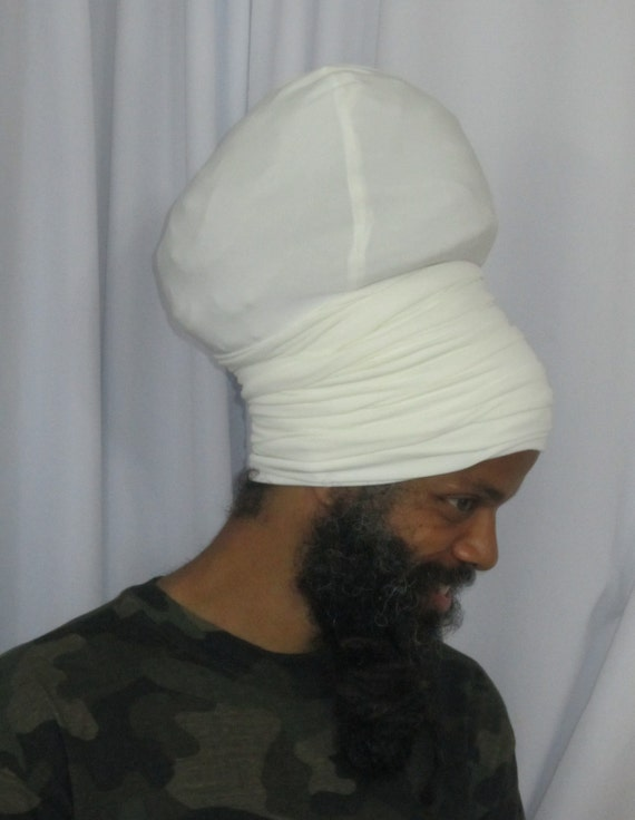Homme blanc cassé EZ Wrap - Ready s'enroule - Stretch Turban - Stretch s'enroule-hommes-Dread Locs hommes-choisir une longueur