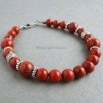Red Jasper Stone Mens Bracelet, Beaded Red Jewelry for Men and Unisex, Handmade