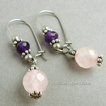 Rose Quartz and Amethyst Earrings, Hypoallergenic Stainless Steel Earwires, Gemstone Jewelry Gift for Her