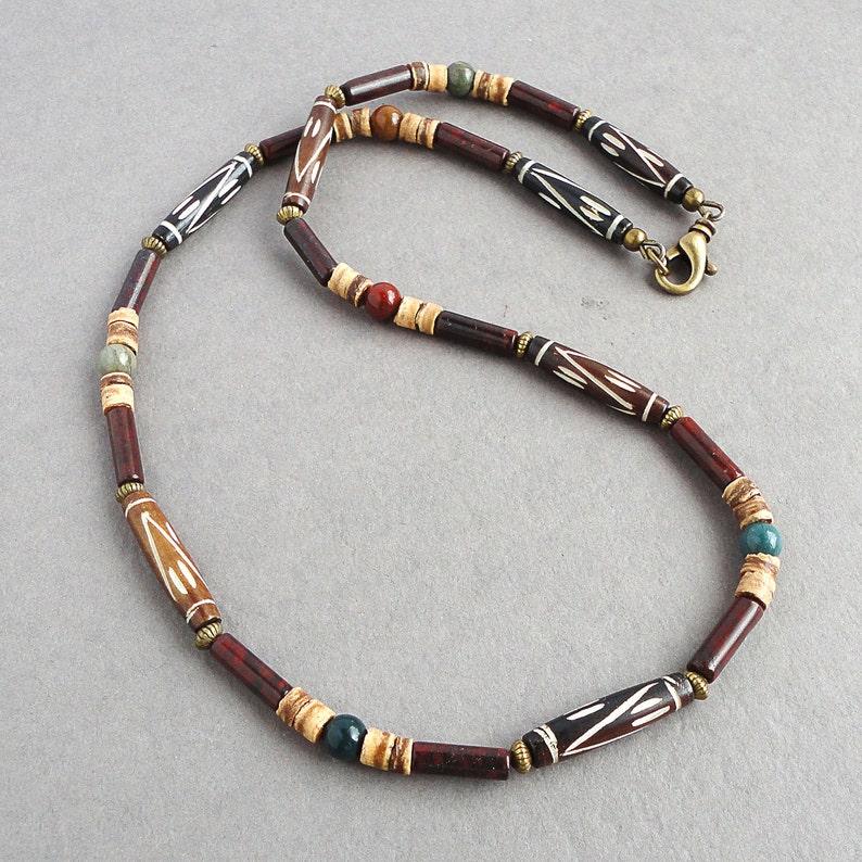 Mens Necklace Tribal Style Beaded Jewelry  Bone Stone Coco image 0