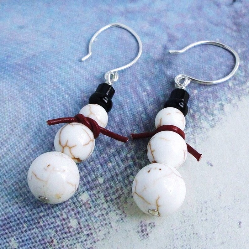 Snowman Gemstone Earrings  White Magnesite and Black Onyx image 0